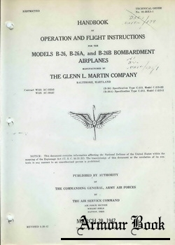 Handbook of operation and fught instructions for the models B-26, B-26A, and B-26B bombardment airplanes