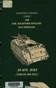 TM9-2350-300-10 Operator's Manual (Crew) for Gun, Air Defense Artillery, Self-Propelled, 20-mm, M163