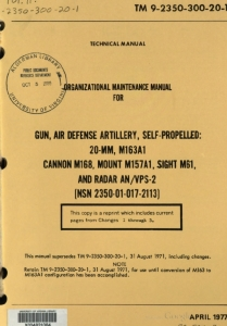 TM9-2350-300-20-1 Organiztion Maintenance Manual for Gun, Air Defense Artillery, Self-Propelled, 20-mm, M163A1