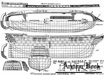 "Чертежи 120-типушечного корабля ""Париж"" на 1847г. [Микрофлот]"