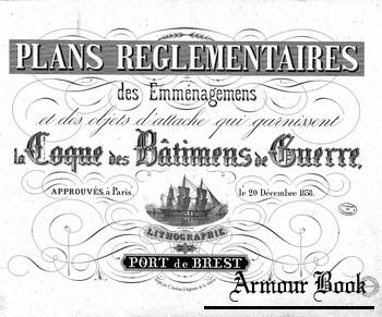 Plans reglementaries in coque des batimens de guerre & atlas de genie maritime a toulon 1 & 2