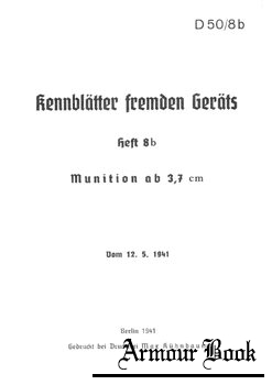 D50/8b Kennblatter Fremden Gerats Heft 8b Munition ab 3,7 cm