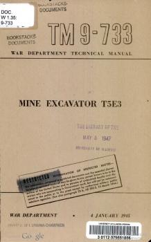 TM 9-733 Mine Excavator T5E3