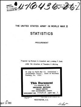 The United States Army in World War II, Statistics, Procurement