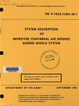 TM 9-1425-1585-10-1 Improved Chaparral Air Defense Guided Missile System