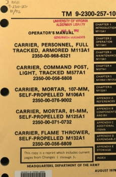 TM 9-2300-257-10 Operator's Manual for M113A1 Family Vehicles