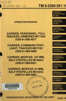 TM 9-2350-261-10 Operator's Manual for M113A2 Family Vehicles (1984 edition)