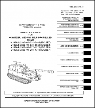 TM 9-2350-311-10 Howitzer, Medium, Self-Propelled, 155mm, M109A2, M109A3, M109A4 and M109A5