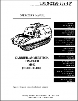 TM 9-2350-267-10: Carrier, Ammunition, Tracked, M992