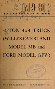 TM 9-803: 1/4-ton, 4x4 Truck (Willys MB & Ford GPW)
